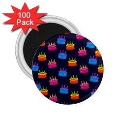 A Tilable Birthday Cake Party Background 2 25  Magnets (100 Pack)  by Nexatart