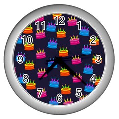 A Tilable Birthday Cake Party Background Wall Clocks (silver)