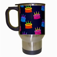 A Tilable Birthday Cake Party Background Travel Mugs (white) by Nexatart