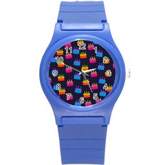 A Tilable Birthday Cake Party Background Round Plastic Sport Watch (s)