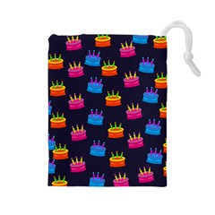 A Tilable Birthday Cake Party Background Drawstring Pouches (large)