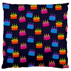A Tilable Birthday Cake Party Background Large Flano Cushion Case (two Sides) by Nexatart