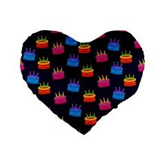 A Tilable Birthday Cake Party Background Standard 16  Premium Flano Heart Shape Cushions by Nexatart