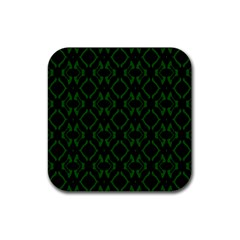 Green Black Pattern Abstract Rubber Square Coaster (4 Pack)  by Nexatart