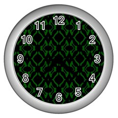 Green Black Pattern Abstract Wall Clocks (silver)  by Nexatart