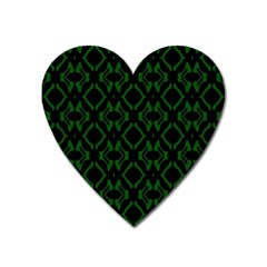 Green Black Pattern Abstract Heart Magnet by Nexatart
