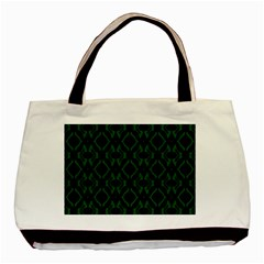 Green Black Pattern Abstract Basic Tote Bag by Nexatart