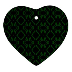 Green Black Pattern Abstract Heart Ornament (two Sides) by Nexatart