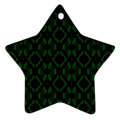 Green Black Pattern Abstract Star Ornament (two Sides)