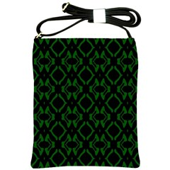 Green Black Pattern Abstract Shoulder Sling Bags by Nexatart