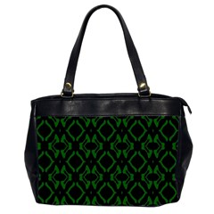 Green Black Pattern Abstract Office Handbags (2 Sides)