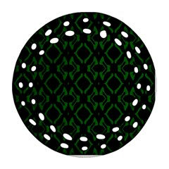 Green Black Pattern Abstract Round Filigree Ornament (two Sides) by Nexatart