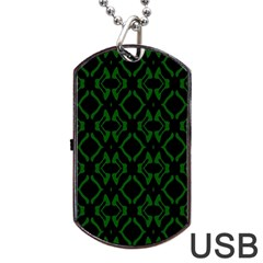 Green Black Pattern Abstract Dog Tag USB Flash (One Side) by Nexatart