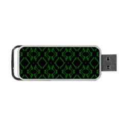 Green Black Pattern Abstract Portable Usb Flash (one Side) by Nexatart