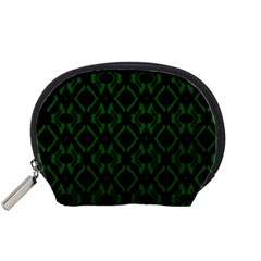 Green Black Pattern Abstract Accessory Pouches (small)  by Nexatart