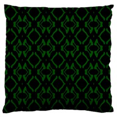 Green Black Pattern Abstract Large Flano Cushion Case (one Side) by Nexatart