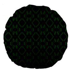 Green Black Pattern Abstract Large 18  Premium Flano Round Cushions by Nexatart
