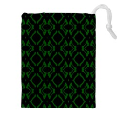 Green Black Pattern Abstract Drawstring Pouches (xxl) by Nexatart