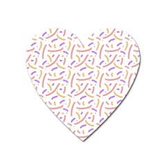 Confetti Background Pink Purple Yellow On White Background Heart Magnet by Nexatart