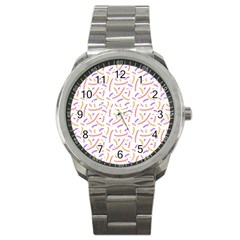 Confetti Background Pink Purple Yellow On White Background Sport Metal Watch by Nexatart