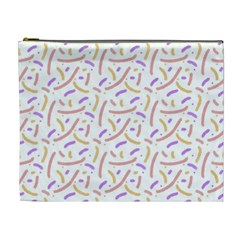 Confetti Background Pink Purple Yellow On White Background Cosmetic Bag (xl) by Nexatart