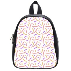 Confetti Background Pink Purple Yellow On White Background School Bags (small)  by Nexatart
