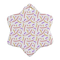 Confetti Background Pink Purple Yellow On White Background Snowflake Ornament (two Sides) by Nexatart