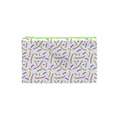 Confetti Background Pink Purple Yellow On White Background Cosmetic Bag (xs) by Nexatart