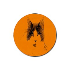 Cat Graphic Art Rubber Round Coaster (4 Pack)  by Nexatart