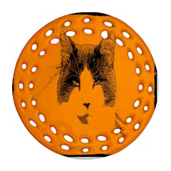 Cat Graphic Art Round Filigree Ornament (two Sides) by Nexatart