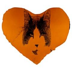 Cat Graphic Art Large 19  Premium Heart Shape Cushions by Nexatart