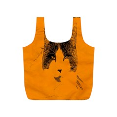 Cat Graphic Art Full Print Recycle Bags (s)  by Nexatart