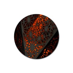 Abstract Lighted Wallpaper Of A Metal Starburst Grid With Orange Back Lighting Rubber Round Coaster (4 Pack)