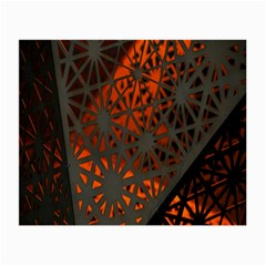 Abstract Lighted Wallpaper Of A Metal Starburst Grid With Orange Back Lighting Small Glasses Cloth (2 Side)