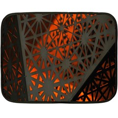 Abstract Lighted Wallpaper Of A Metal Starburst Grid With Orange Back Lighting Double Sided Fleece Blanket (mini)