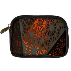 Abstract Lighted Wallpaper Of A Metal Starburst Grid With Orange Back Lighting Digital Camera Cases by Nexatart