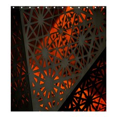 Abstract Lighted Wallpaper Of A Metal Starburst Grid With Orange Back Lighting Shower Curtain 66  X 72  (large)  by Nexatart