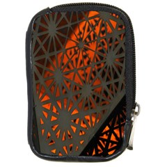 Abstract Lighted Wallpaper Of A Metal Starburst Grid With Orange Back Lighting Compact Camera Cases by Nexatart