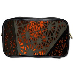 Abstract Lighted Wallpaper Of A Metal Starburst Grid With Orange Back Lighting Toiletries Bags by Nexatart