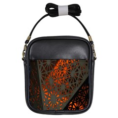 Abstract Lighted Wallpaper Of A Metal Starburst Grid With Orange Back Lighting Girls Sling Bags