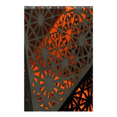 Abstract Lighted Wallpaper Of A Metal Starburst Grid With Orange Back Lighting Shower Curtain 48  X 72  (small)  by Nexatart