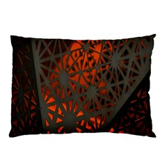 Abstract Lighted Wallpaper Of A Metal Starburst Grid With Orange Back Lighting Pillow Case (two Sides)