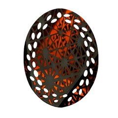 Abstract Lighted Wallpaper Of A Metal Starburst Grid With Orange Back Lighting Ornament (oval Filigree)