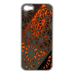 Abstract Lighted Wallpaper Of A Metal Starburst Grid With Orange Back Lighting Apple Iphone 5 Case (silver)