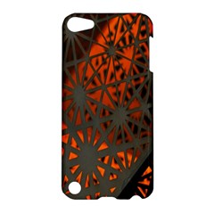 Abstract Lighted Wallpaper Of A Metal Starburst Grid With Orange Back Lighting Apple Ipod Touch 5 Hardshell Case by Nexatart