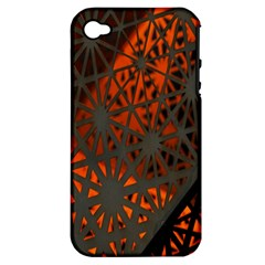 Abstract Lighted Wallpaper Of A Metal Starburst Grid With Orange Back Lighting Apple Iphone 4/4s Hardshell Case (pc+silicone) by Nexatart