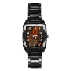 Abstract Lighted Wallpaper Of A Metal Starburst Grid With Orange Back Lighting Stainless Steel Barrel Watch