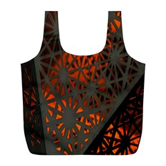 Abstract Lighted Wallpaper Of A Metal Starburst Grid With Orange Back Lighting Full Print Recycle Bags (l)  by Nexatart