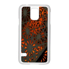 Abstract Lighted Wallpaper Of A Metal Starburst Grid With Orange Back Lighting Samsung Galaxy S5 Case (white) by Nexatart