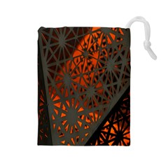 Abstract Lighted Wallpaper Of A Metal Starburst Grid With Orange Back Lighting Drawstring Pouches (large)